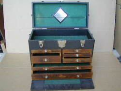 H. GERSTNER & SONS LEATHER 7 DRAWER VINTAGE MACHINIST TOOL CHEST