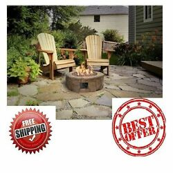 Lava Rock Fire Pit Stacked Outdoor Propane Deck Heater 36 Inch Ring Patio Kit