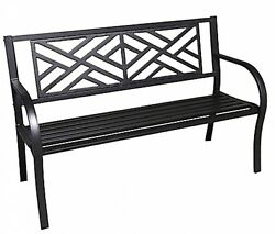 Maze Cast Iron Park Bench Outdoor Furniture Garden Patio Walkway Seating Seat