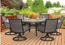 Patio Dining Set 7 Piece Furniture Round Table Chairs Swivel Rocking Outdoors
