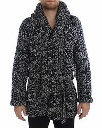 NEW $3900 DOLCE & GABBANA Sweater Cashmere Black White Knitted Cardigan IT48  M