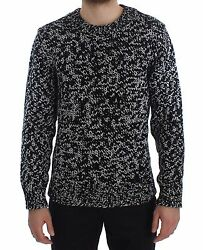 NEW $1900 DOLCE & GABBANA Sweater Cashmere Black White Knitted Crewneck IT50  L