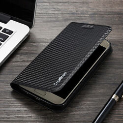 Magnetic Carbon Leather Flip Wallet Phone Case Cover for Samsung Galaxy Models