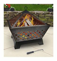 Outdoor Fire pit Fireplace Contemporary Wood Burning Heater Patio Backyard Camp