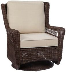 Brown Wicker Swivel Rocking Chair Lounge Outdoor Cushion Weather Resistant Seat