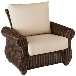 Patio Lounge Chair Wicker Outdoor Porch Deck Seat Cushion Padded Brown Armrest