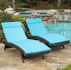 Lounge Chair Cushion Set of 2 Chaise Pads Outdoor Cushions Patio Blue Lounger