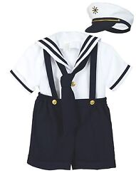 Baby Boy Toddler Formal Party Nautical Navy Sailor Suit Outfits SZ: S M L XL 4T $24.64