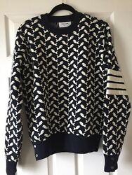 Thom Browne Whale Jacquard Sweater Cashmere Made In Italy Very Heavy