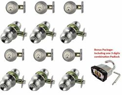 6 Sets of NuSet Fremont32D Door Knob and Single Cylinder Deadbolt Satin Steel