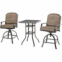 High Outdoor Bistro Set 3 Piece Patio Swivel Chairs Table Cushion Deck Dining