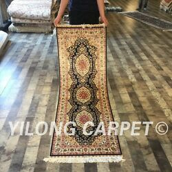 Yilong 2'x6' Long Hand Knotted Silk Persian Carpet Original Rug Runner ZZ076