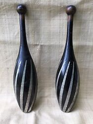 Folk Art Indian Clubs with Applied Metal Decoration