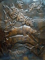 Embossed Copper 3-D Art Deco Jungle Panther Tropical Bamboo Mountain Lion 16x20