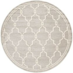 Floor Round Area Rug 9x9 ft. Light GrayIvory IndoorOutdoor Home Carpet Amherst