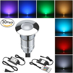 30X 24mm 12V RGB Color Changing Outdoor Path LED Inground Deck Rail Step Lights