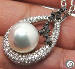 14.6MM SOUTH SEA PEARL 3.5ct. DIAMOND & SOLID 18K GOLD PENDANT NECKLACE #P3381