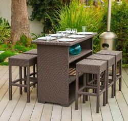 Bar Height Patio Furniture Set Outdoor Wicker Table Stools Seats Chairs Brown