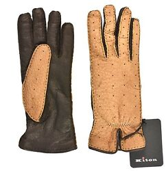 New Kiton WOMEN GLOVES 100% leather PECCARY inside CASHMERE SIZE 7 12 GD02