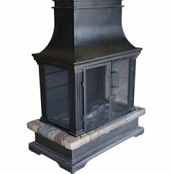 Outdoor Fireplace 36-In PatioDeck Propane Gas Burning Fire PitSteel And Slate