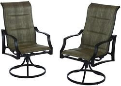 Patio Lounge Swivel Chairs 2 Pack Padded Outdoor Furniture Durable Steel Frame