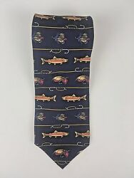 Field and Stream Salman Fish and Fishing Lures All Silk Mens Tie