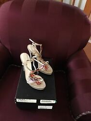 DOLCE & GABBANA SHOES LEATHER HIGH HEEL STRAPPY Beaded 38 Or 8