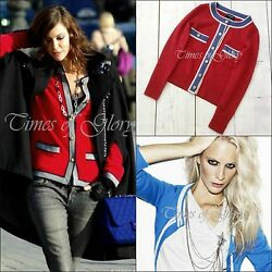 NEW Auth Chanel 13C CC Button Red CASHMERE Knit Cardigan Sweater Size FR34 US2