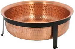 Copper Fire Pit 30x12in Extra Deep Large Hand Hammered Bowl w Cover and Screen