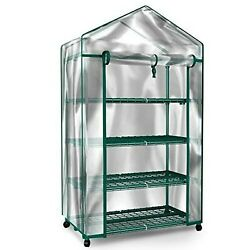 Plant Greenhouse on Wheels with Clear Cover - 4 Tiers Rack Stands- Indoor Outdoo
