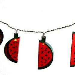 Watermelon Slice Plastic Patio Battery String Lights 10 Count 6' Long  New