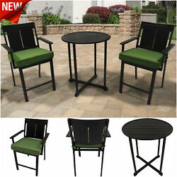 Outdoor 3 Piece High Bistro Dining Set Patio Stools Chairs Table Cushion Deck