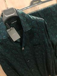 NWT$2.2K Tom Ford Pajamas-Set-2Piece Suit-2XL-46US56EUR-100%SILK-Navy+Green