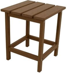 Patio Side Table 18 in Outdoor Furniture Resin Teak Finish Solid Polywood Lumber