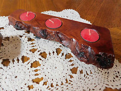 Lot of 3 unique OOAK hard wood hand made tea light candle holders rustic cabin