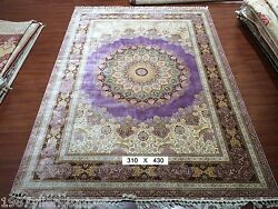 Yilong 10'x14' Large Purple 100% Silk Persian Area Rug Hand Knotted Carpet
