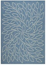 5 X 8 ft Large Flat Woven Indoor Outdoor Area Rug Low profile Floral Carpet Blue