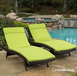 Lounge Chair Cushion Set of 2 Chaise Pads Outdoor Waterproof Cushion Patio Green