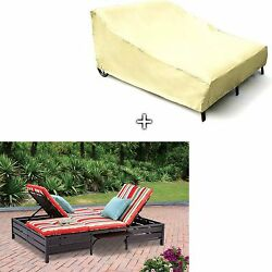 Outdoor Patio Double Chaise Lounge With Cover Steel Polyester Recliner Furniture