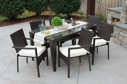 7PC Outdoor Wicker Dining Set Rattan Patio Table Furniture Garden Chair New