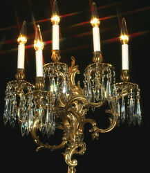 1 sconce 5light Museum CRYSTAL prism Rococo Vintage Gilt Bronze Brass FRENCH $967.00