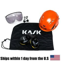 Kask Arborist Tree Climbing Orange Super Plasma Helmet Visor Ear Muffs Bag