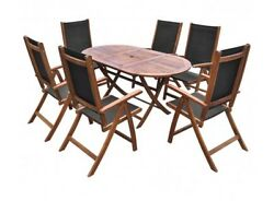 Patio Dining Set 7 Piece Outdoor Garden Furniture Table Chairs Wood Folding