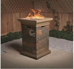 Outdoor Fireplace Heater Propane Fire Pit Kit Bowl Stand Gas Patio Rock Decor