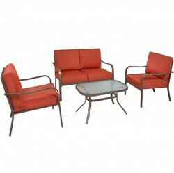 Red Outdoor Patio Set Cushioned Furniture Loveseat Chairs Table 4 Piece New Lawn