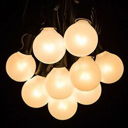 100 Foot Outdoor Globe Patio String Lights - Set of 100 G40 White Pearl 1.6 Inch