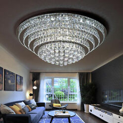 LED Round Remote Control K9 Clear Crystal Ceiling Light Pendant Lamp Chandeliers