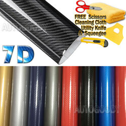 7D Premium Super Gloss Carbon Fiber Vinyl Film Wrap Bubble Free Air Release 6D $26.98