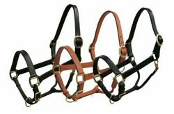 LEATHER Triple Ply HALTER Full Horse Size Adjustable with BRASS Hardware