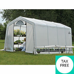 10x20x8 White Steel Greenhouse Kit Heavy Duty Walk In with Cover